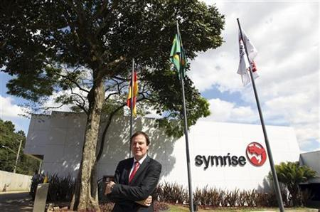 CEO of Germany Symrise AG, Heinz-Jurgen Bertram, poses in front of new Center of Excellence in Granja Viana, 40 km (25 miles) south of Sao Paulo August 2, 2012. REUTERS/Paulo Whitaker