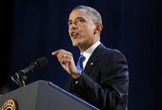 Il presidente Usa Barack Obama durante il discorso a Chicago dopo la sua rielezione alla Casa Bianca. REUTERS/Jason Reed