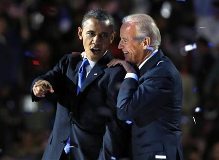 U.S. President Barack Obama gestures with Vice President Joe Biden after his election night victory speech in Chicago, November 6, 2012. REUTERS/Larry Downing