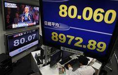 El Índice Nikkei recuperó las pérdidas de primera hora, con subida de Nissan Motor y Sumitomo Metal Mining después de que ambas empresas recortaran las previsiones de beneficio menos que lo esperado. En la imagen, una pantalla de televisión muestra el índice Nikkei mientras otra emite el discurso del presidente de EEUU, Barack Obama, tras ganar las elecciones, el 7 de noviembre de 2012. REUTERS/Toru Hanai