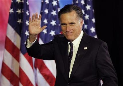 U.S. Republican presidential nominee Mitt Romney waves after his concession speech during his election night rally in Boston, Massachusetts November 7, 2012. REUTERS/Shannon Stapleton
