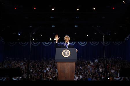 U.S. President Barack Obama speaks to supporters following his re-election during his election night rally in Chicago, Illinois November 7, 2012. REUTERS/Jason Reed