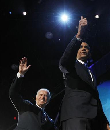 President Barack Obama and Vice President Joe Biden greets the crowd after the President's victory speech in Chicago Novermber 7, 2012. REUTERS/Jason Reed (UNITED STATES - Tags: POLITICS ELECTIONS USA PRESIDENTIAL ELECTION)