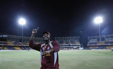 West Indies' Chris Gayle celebrates after winning the World Twenty20 final cricket match against Sri Lanka in Colombo October 7, 2012. REUTERS/Dinuka Liyanawatte