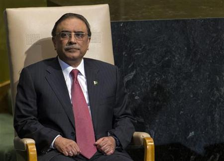 Asif Ali Zardari, President of Pakistan, addresses the 67th session of the United Nations General Assembly at UN headquarters in New York, September 25, 2012. REUTERS/Ray Stubblebine/Files