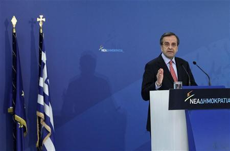 Greece's Prime Minister Antonis Samaras addresses his lawmakers at the headquarters of conservative New Democracy party in Athens November 4, 2012. REUTERS/John Kolesidis