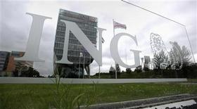 The logo of ING seen at the headquarters in Amsterdam July 16, 2012. REUTERS/Robin van Lonkhuijsen/United Photos