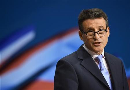 Sebastian Coe, chairman of the organising committee for the London Olympics speaks at the Conservative Party conference in Birmingham, central England October 10, 2012. REUTERS/Toby Melville/Files