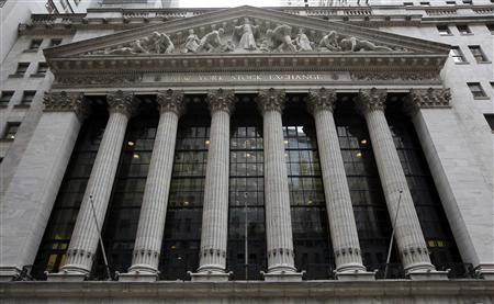 The exterior of the New York Stock Exchange is seen without flags or banners because of an upcoming storm, November 7, 2012. REUTERS/Chip East