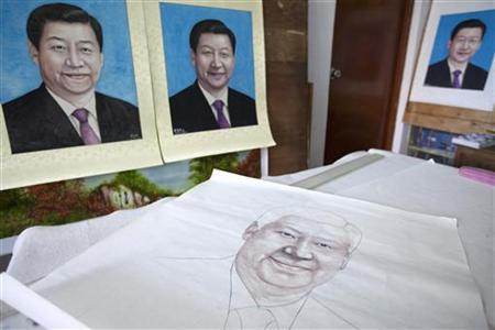 A semi-finished portrait of incoming Chinese leader Xi Jinping by Chinese painter Luo Jianhui displayed in his studio in the southern Chinese city of Guangzhou November 1, 2012. REUTERS/Tyrone Siu