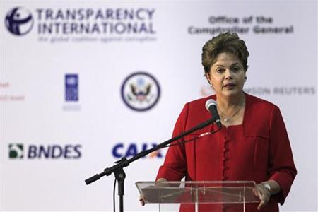 Brazil's President Dilma Rousseff participates during The 15th biennial International Anti-Corruption Conference ''Mobilising People: Connecting Agents of Change'' in Brasilia November 7, 2012. REUTERS/Ueslei Marcelino