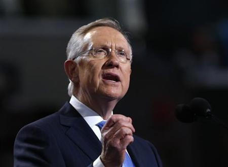 House Majority Leader Harry Reid (D-NV) addresses delegates during first day of the Democratic National Convention in Charlotte, North Carolina September 4, 2012. REUTERS/Eric Thayer