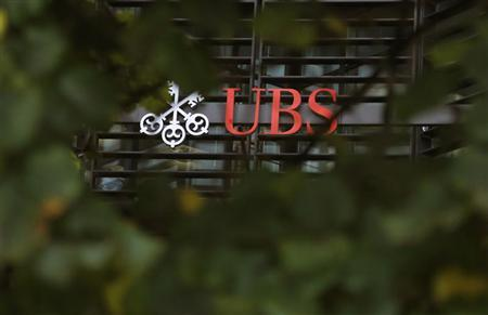 The offices of Swiss bank UBS are seen in the financial district of the City of London October 31, 2012. EUTERS/Chris Helgren