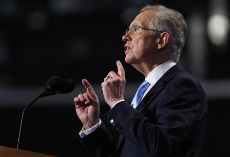 Senate Majority Leader Harry Reid (D-NV) addresses the first session of the Democratic National Convention in Charlotte, North Carolina, September 4, 2012. REUTERS/Jessica Rinaldi