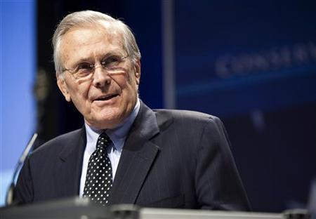 Former Secretary of Defence Donald Rumsfeld speaks during the 38th annual Conservative Political Action Conference (CPAC) in Washington in this file photo taken February 10, 2010. REUTERS/Joshua Roberts