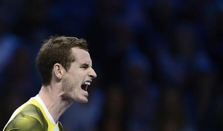 Britain's Andy Murray reacts after losing a point to Serbia's Novak Djokovic during their men's singles tennis match at the ATP World Tour Finals in the O2 Arena in London November 7, 2012. REUTERS/Dylan Martinez