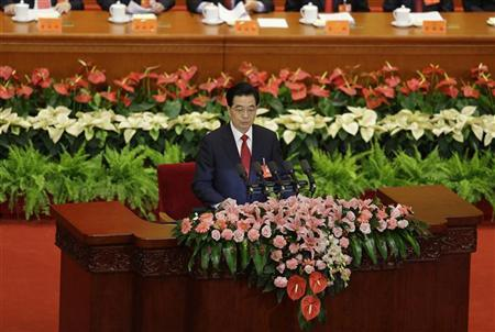 Chinese President Hu Jintao delivers a speech during the opening ceremony of 18th National Congress of the Communist Party of China at the Great Hall of the People in Beijing, November 8, 2012. REUTERS/Jason Lee