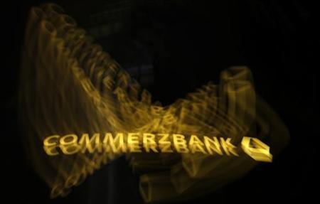 A logo of Germany's Commerzbank is pictured in Frankfurt, November 7, 2012. Picture taken with long exposure. REUTERS/Lisi Niesner (GERMANY - Tags: BUSINESS LOGO)
