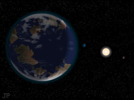 This artist's impression shows HD40307g in the foreground (on the left hand side), with its host star HD40307 and two other planets in the system (on the right-hand side). The depicted atmosphere and continents are not detected or constrained by this work. REUTERS/handout/J. Pinfield, for the RoPACS network at the University of Hertfordshire.