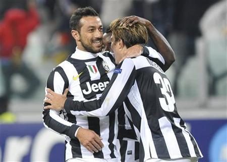 Juventus' Fabio Quagliarella (L) celebrates with teammate Alessandro Matri after scoring against Nordsjaelland during their Champions League Group E soccer match at the Juventus stadium in Turin November 7, 2012. REUTERS/Giorgio Perottino
