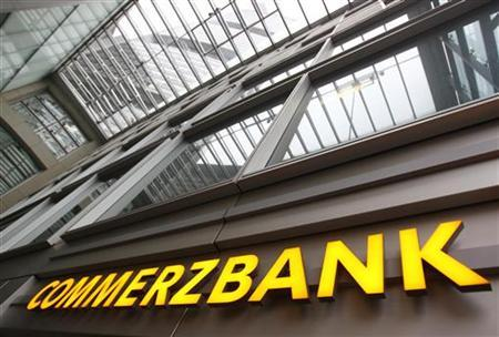 The entrance of the German Commerzbank headquarters is pictured in Frankfurt, January 19, 2012. REUTERS/Alex Domanski (GERMANY - Tags: BUSINESS LOGO)
