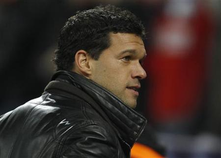 Bayer Leverkusen's Michael Ballack arrives for their Champions League soccer match against FC Barcelona in Leverkusen February 14, 2012. REUTERS/Ina Fassbender/Files