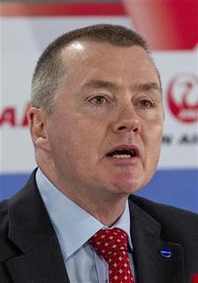 International Airlines Group (IAG) CEO Willie Walsh attends a ceremony marking German carrier Airberlin's accession to the Oneworld network of airlines, at the BBI airport outside Berlin, March 20, 2012. REUTERS/Thomas Peter