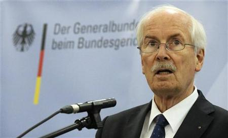Attorney General Harald Range of the Federal Prosecutors Office, addresses a news conference in Karlsruhe, November 8, 2012. REUTERS/Ralf Stockhoff (GERMANY - Tags: POLITICS CRIME LAW CIVIL UNREST)