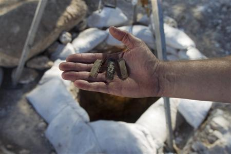 A worker for the Israel Antiquities Authority displays ancient flint sickle blades near a well uncovered in recent excavations in the Jezreel Valley, near the northern Israeli town of Yokneam November 8, 2012. REUTERS/Baz Ratner