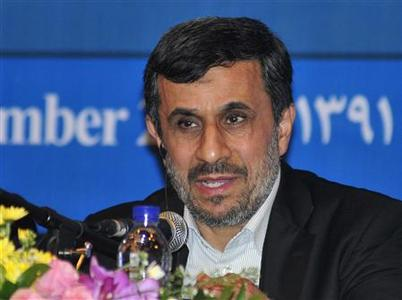 Iranian President Mahmoud Ahmadinejad speaks during a news conference in Nusa Dua, Bali November 2012. Ahmadinejad is in Bali to attend the 5th Bali Democracy Forum. REUTERS/Stringer