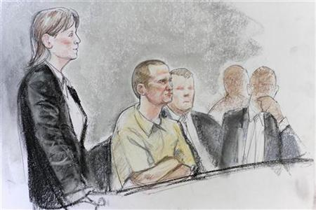 Jared Loughner (2nd L) is shown in a courtroom sketch with his attorney Judy Clark (L) during his hearing in federal court in Tucson, Arizona August 7, 2012. REUTERS/Maggie Keane