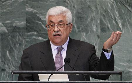 President of the Palestinian Authority Mahmoud Abbas addresses the 67th United Nations General Assembly at the U.N. Headquarters in New York, September 27, 2012. REUTERS/Lucas Jackson