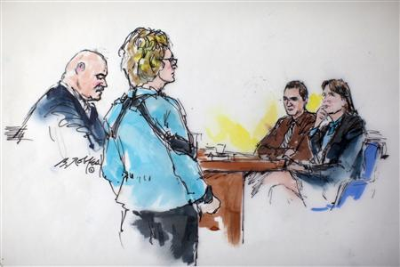 REFILE - ADDING RESTRICTIONS Sketch of former ArizonaCongresswoman Gabrielle Giffords (2nd L) and Jared Loughner (2nd R) inside the courtroom during his sentencing in Tucson, Arizona November 8, 2012. REUTERS/Bill Robles