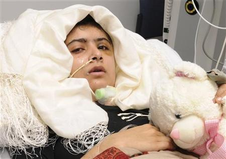 Malala Yousufzai is seen recuperating at the The Queen Elizabeth Hospital in Birmingham in this handout photograph released October 19, 2012. REUTERS/Queen Elizabeth Hospital Birmingham/Handout/Files