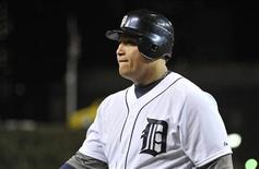 Detroit Tigers' Miguel Cabrera walks back to the dugout after being called out on strikes to give the San Francisco Giants the World Series during Game 4 of the MLB World Series baseball championship in Detroit, Michigan, October 28, 2012. REUTERS/Mike Cassese