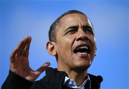 U.S. President Barack Obama speaks at an election campaign rally in Concord, New Hampshire, November 4, 2012. REUTERS/Jason Reed