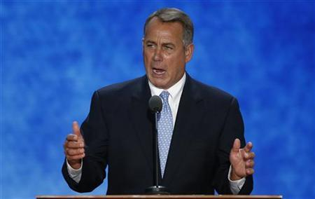 Speaker of the U.S. House of Representatives John Boehner addresses the second session of the Republican National Convention in Tampa, Florida August 28, 2012. REUTERS/Mike Segar