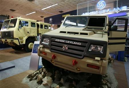 Ashok Leyland Ltd Light Specialist (R) and Field Artillery Tractor vehicles are displayed at the fifth Land and Naval Systems Defence Expo 2008 in New Delhi February 18, 2008. REUTERS/B Mathur/Files