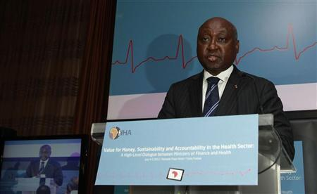President of the African Development Bank (AFDB) Donald Kaberuka speaks during the opening of the conference ''Value for Money, Sustainability and Accountability in the Health Sector'' in Tunis July 4, 2012. REUTERS/Zoubeir Souissi