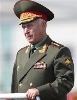 General Nikolai Makarov, Chief of the General Staff of the Armed Forces of the Russian Federation, inspects an honour guard in Seoul September 27, 2010. REUTERS/Jo Yong-Hak/Files
