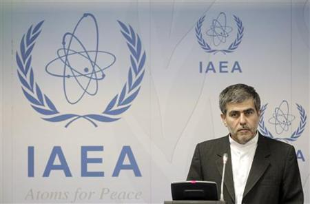 Iran's Head of Atomic Energy Organization Fereydoon Abbasi-Davani reacts as he attends a news conference during the 56th IAEA General Conference at the UN headquarters in Vienna September 17, 2012. REUTERS/Herwig Prammer