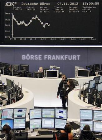 Traders are pictured at their desks in front of the DAX board at the Frankfurt stock exchange November 7, 2012. REUTERS/Remote/Lizza David (GERMANY - Tags: BUSINESS)