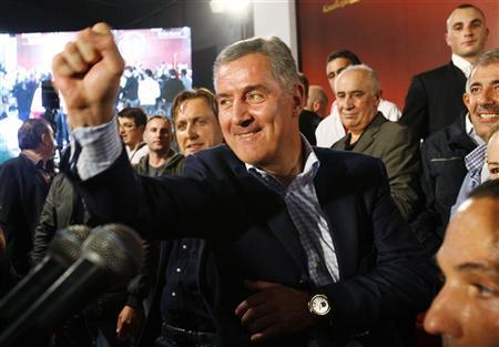 Democratic Party of Socialists (DPS) leader Milo Djukanovic reacts after Montenegro's parliamentary elections in Podgorica, October 14, 2012. REUTERS/Stevo Vasiljevic