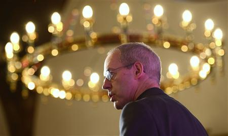 The Bishop of Durham, and the newly appointed Archbishop of Canterbury, Justin Welby, speaks to the media during a news conference at Lambeth Palace in London November 9, 2012. REUTERS/Dylan Martinez
