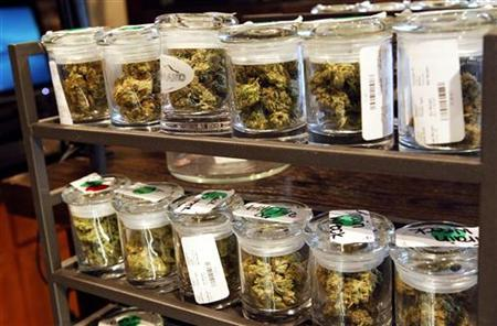 Several varieties of marijuana buds are displayed for sale at a medical marijuana center in Denver April 2, 2012. REUTERS/Rick Wilking