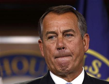 Speaker of the House John Boehner (R-OH) pauses during a news conference on Capitol Hill in Washington, November 9, 2012. REUTERS/Larry Downing