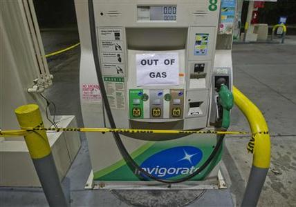 An empty gas pump is seen in the Bayside section of the Queens borough of New York in this October 30, 2012, file photo. REUTERS/Shannon Stapleton/Files