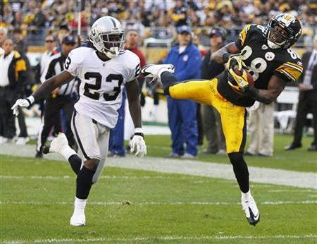 Pittsburgh Steelers Emmanuel Sanders (88) catches a pass from quarterback Ben Roethlisberger to score against Oakland Raiders Jeremy Ware (23) in the second quarter of their NFL football game in Pittsburgh, Pennsylvania, November 21, 2010. REUTERS/Jason Cohn