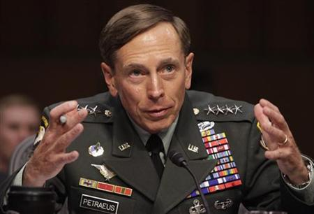 File photo of David Petraeus gestures during the Senate Intelligence Committee hearing on his nomination to be director of the Central Intelligence Agency on Capitol Hill in Washington June 23, 2011. REUTERS/Yuri Gripas/Files