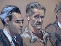 In this courtroom illustration Viktor Bout, a Russian arms dealer caught in an undercover sting operation by U.S. agents posing as Colombian guerrillas seeking weapons, sits during sentencing in New York April 5, 2012. REUTERS/Jan Rosenberg/Handout